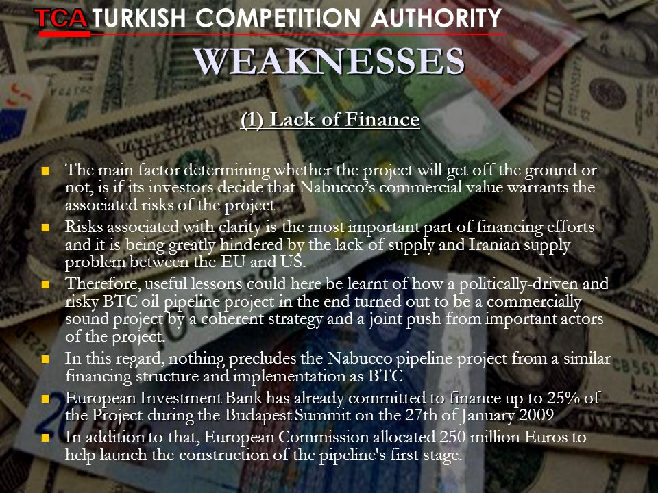 WEAKNESSES TCA TURKISH COMPETITION AUTHORITY (1) Lack of Finance
