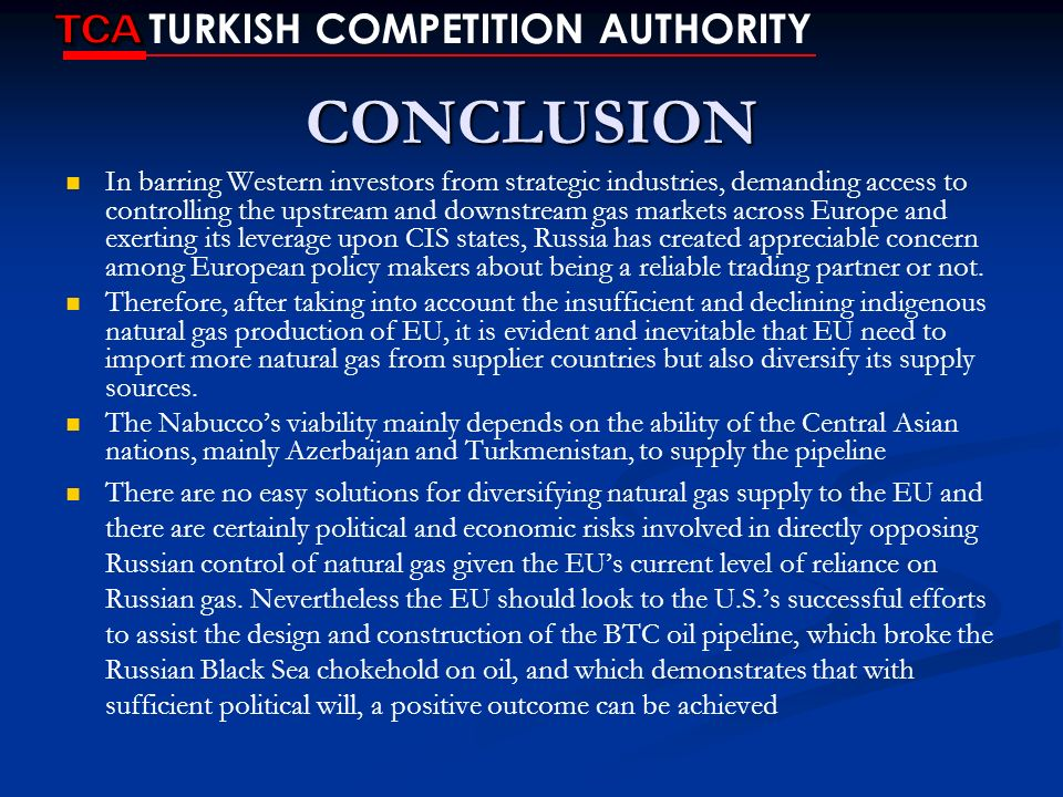 CONCLUSION TCA TURKISH COMPETITION AUTHORITY