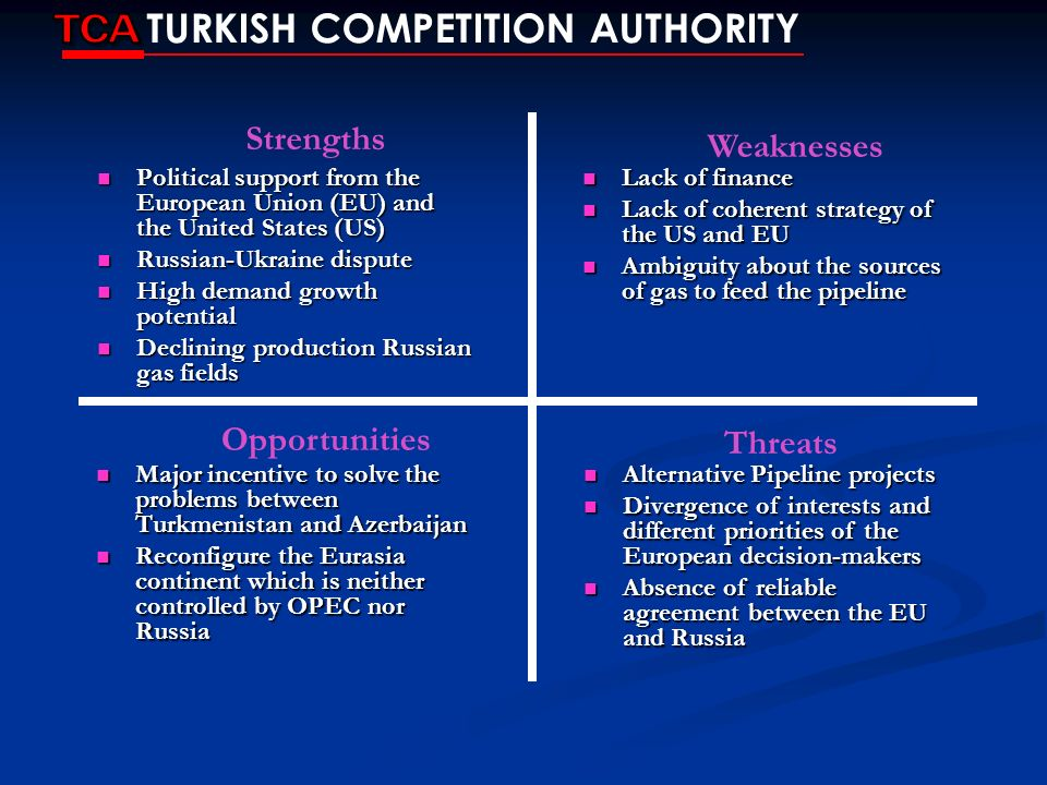 TCA TURKISH COMPETITION AUTHORITY Strengths Weaknesses Opportunities