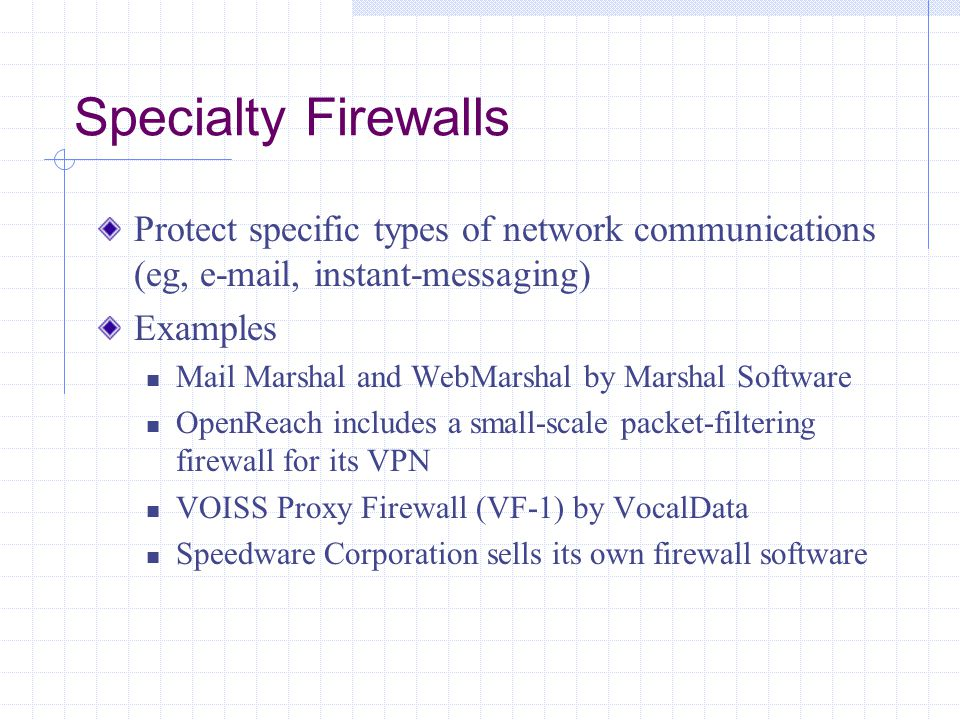 Specialty Firewalls Protect specific types of network communications (eg,  , instant-messaging)