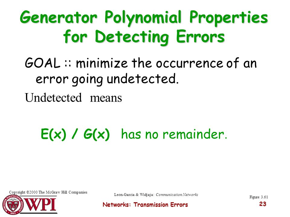 Generator Polynomial Properties for Detecting Errors