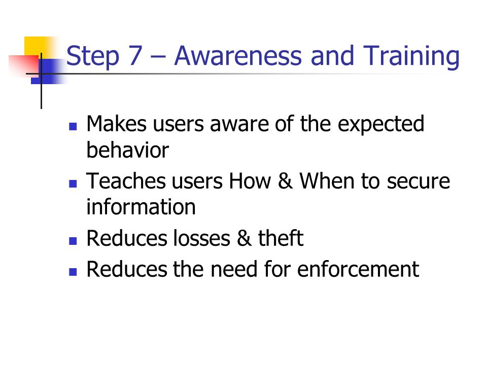 Step 7 – Awareness and Training