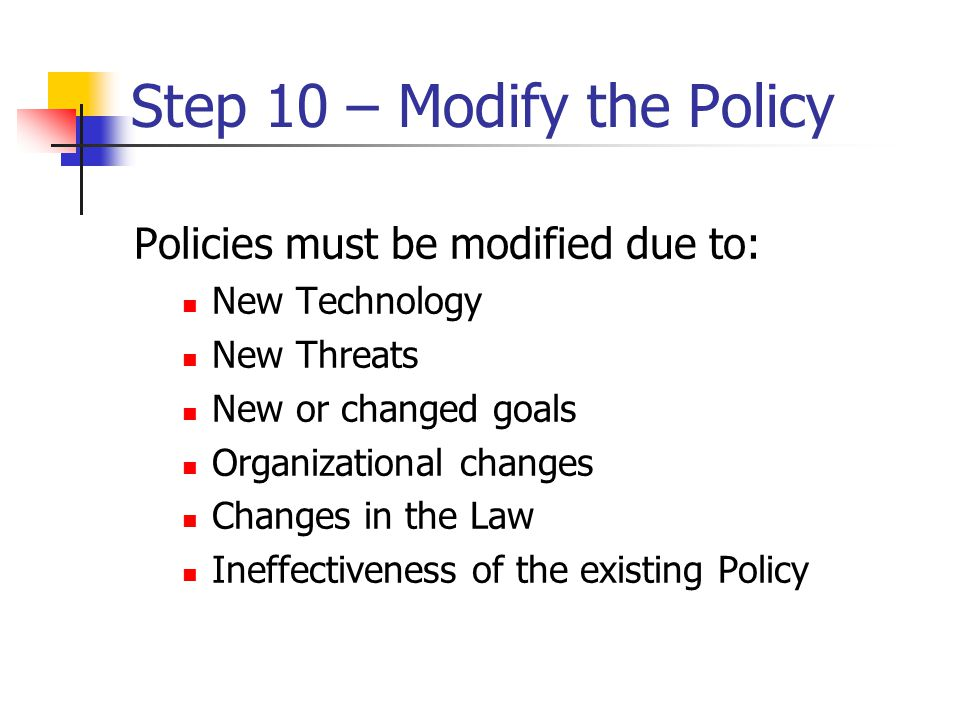 Step 10 – Modify the Policy