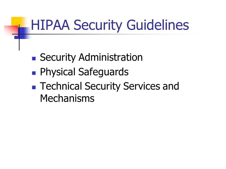 HIPAA Security Guidelines