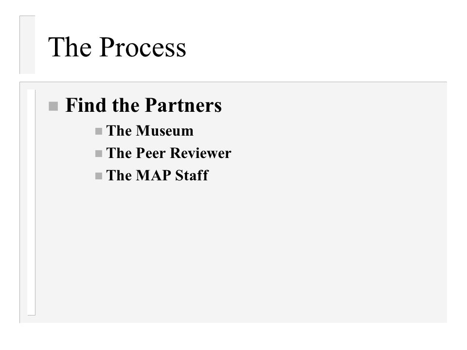 The Process Find the Partners The Museum The Peer Reviewer