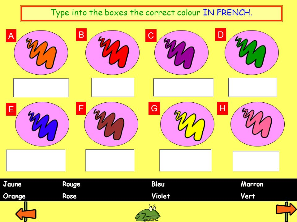 Type into the boxes the correct colour IN FRENCH.