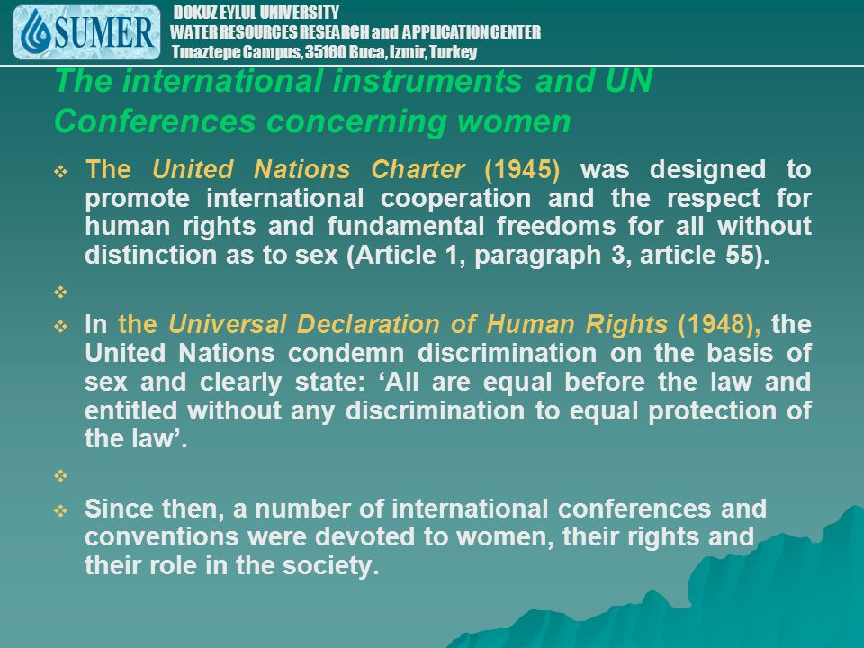 The international instruments and UN Conferences concerning women