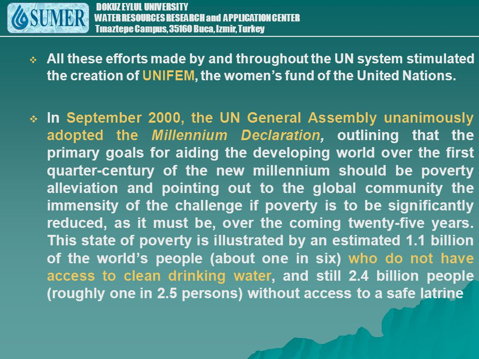 All these efforts made by and throughout the UN system stimulated the creation of UNIFEM, the women's fund of the United Nations.