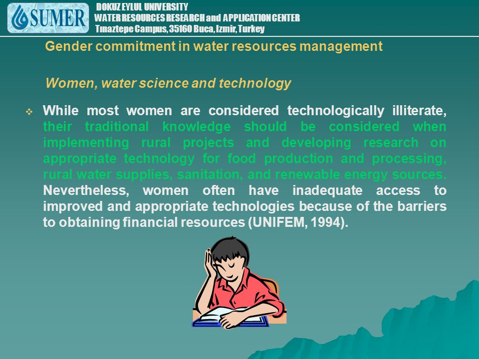 Gender commitment in water resources management Women, water science and technology