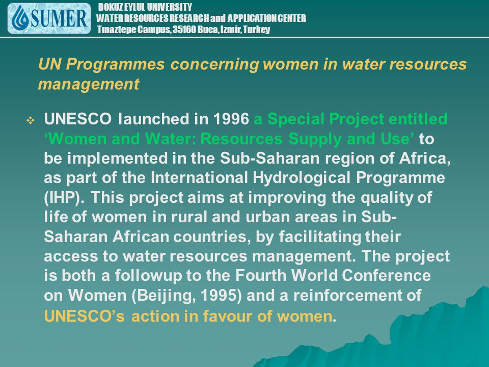 UN Programmes concerning women in water resources management