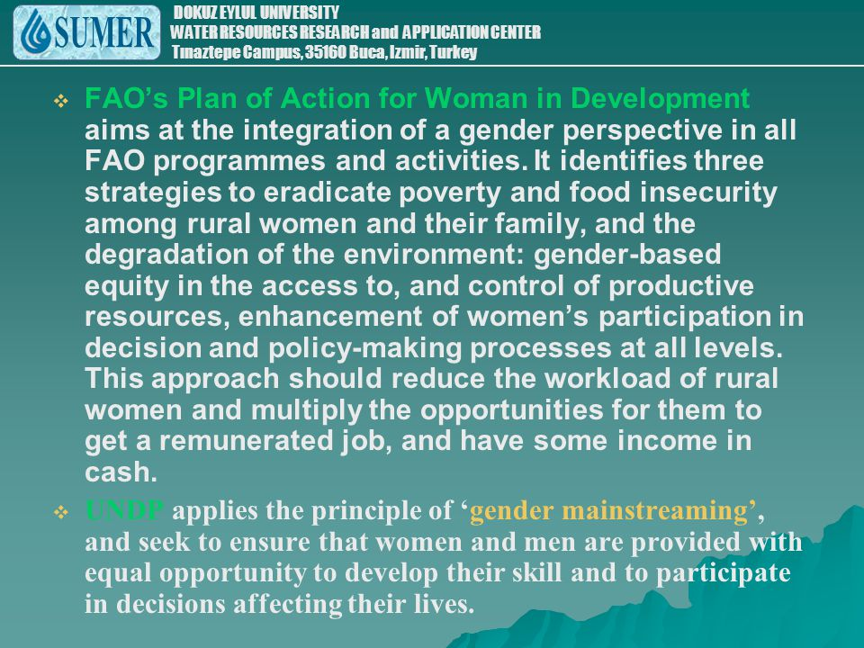 FAO's Plan of Action for Woman in Development aims at the integration of a gender perspective in all FAO programmes and activities. It identifies three strategies to eradicate poverty and food insecurity among rural women and their family, and the degradation of the environment: gender-based equity in the access to, and control of productive resources, enhancement of women's participation in decision and policy-making processes at all levels. This approach should reduce the workload of rural women and multiply the opportunities for them to get a remunerated job, and have some income in cash.