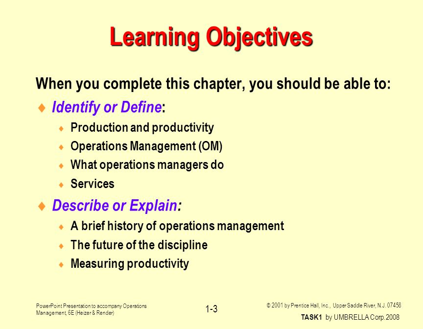 Operations Management Operations and Productivity Chapter 1 - ppt