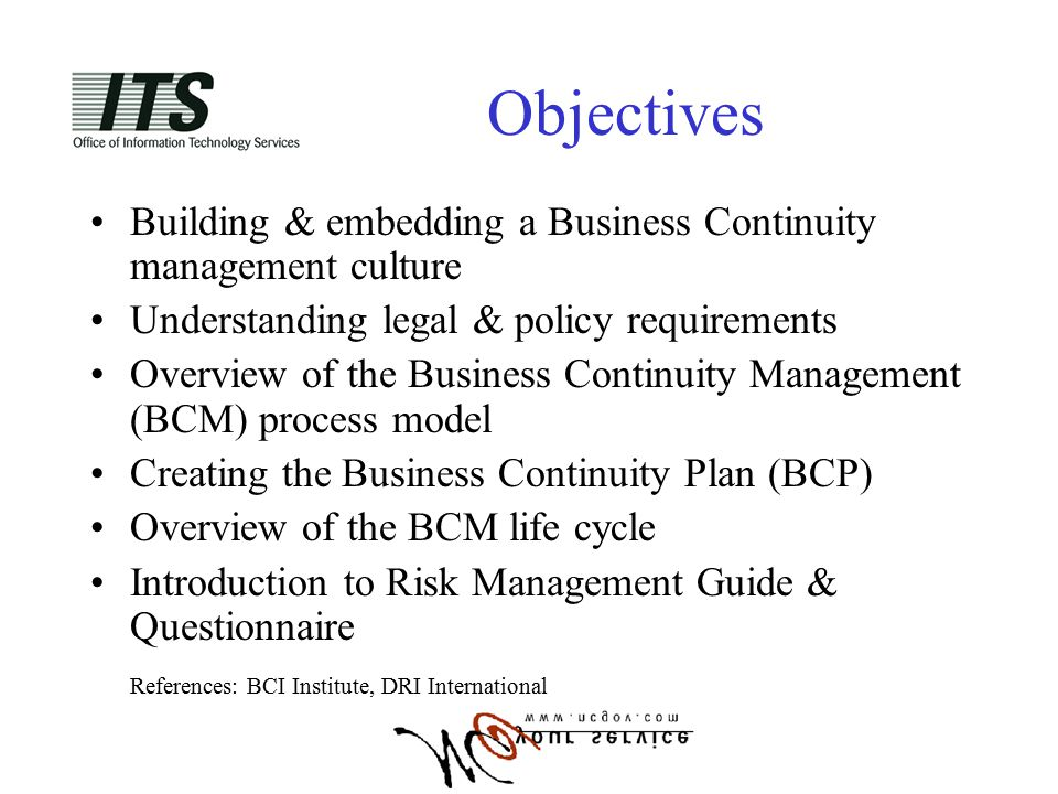 Business continuity management planning ppt video online download objectives building embedding a business continuity management culture understanding legal policy requirements accmission Images