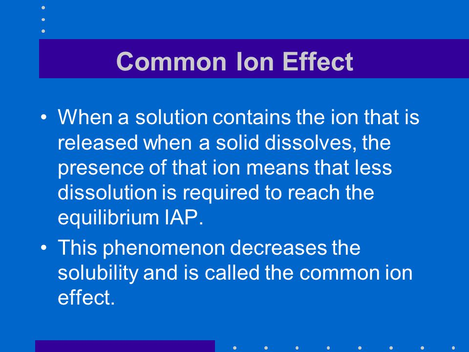 the common ion effect definition