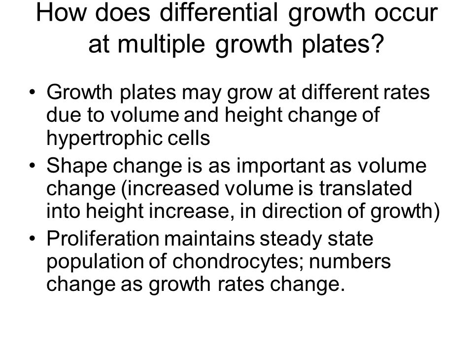 How does differential growth occur at multiple growth plates