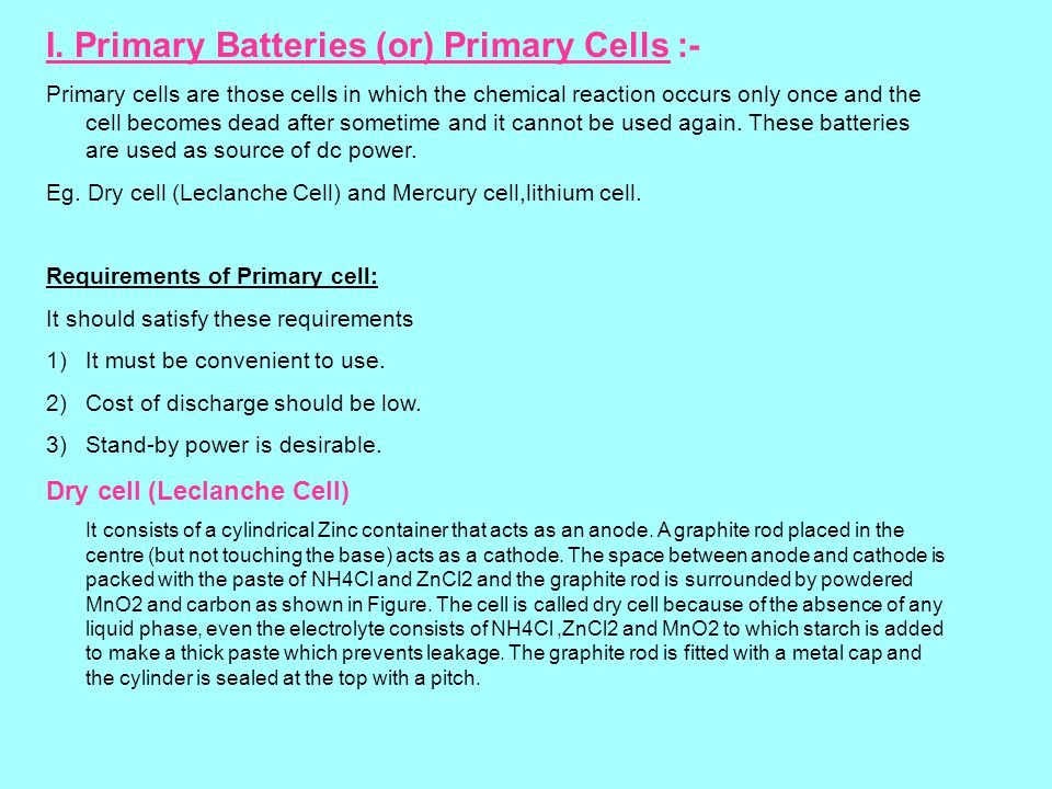 I Primary Batteries Or Cells