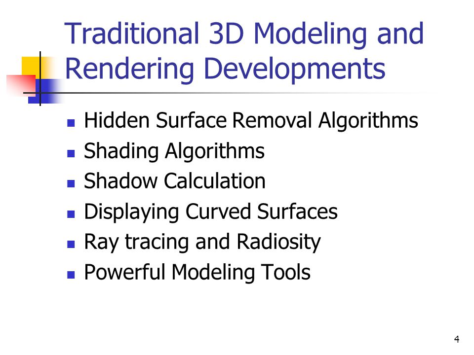Traditional 3D Modeling and Rendering Developments