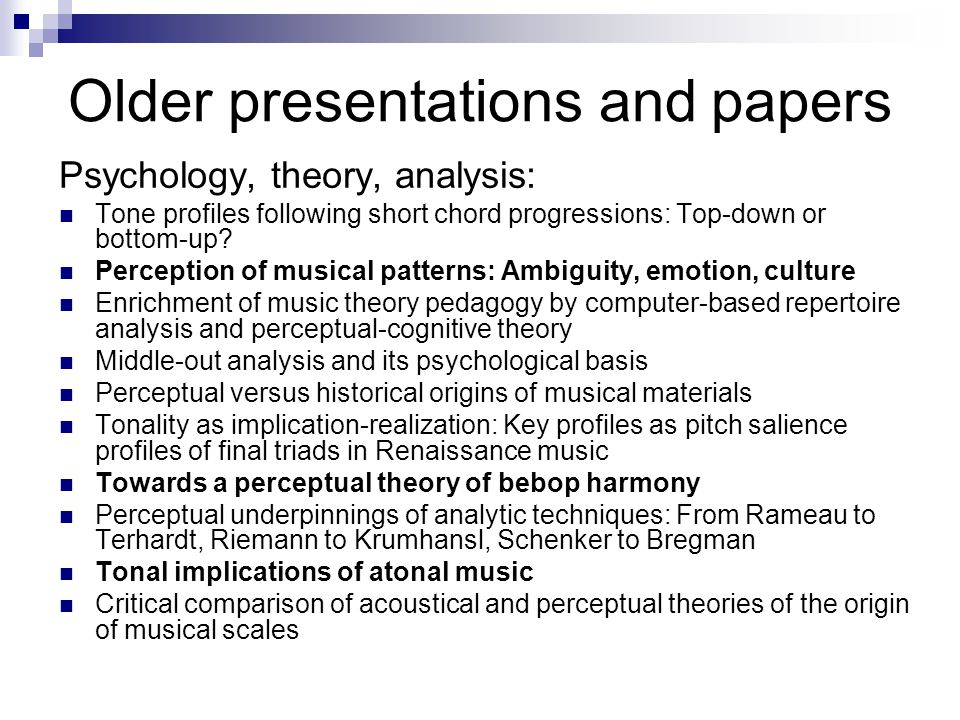 Music psychology, musicology, musical practice - ppt download