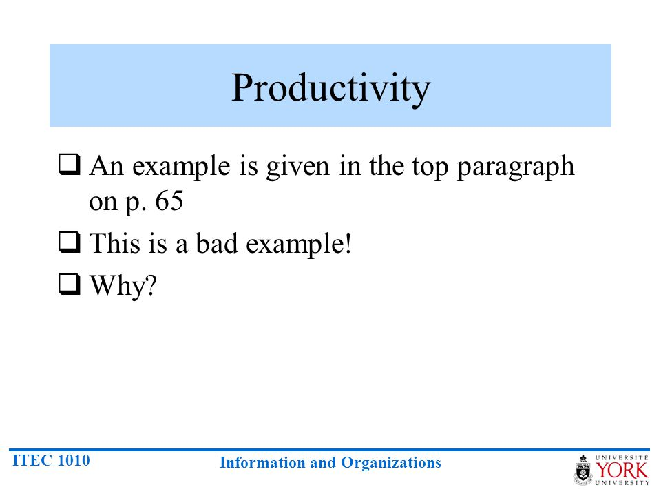 Productivity An example is given in the top paragraph on p. 65