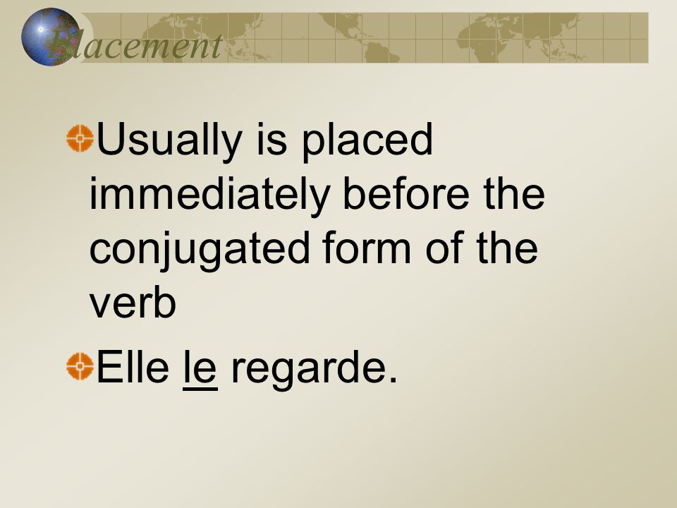 Usually is placed immediately before the conjugated form of the verb