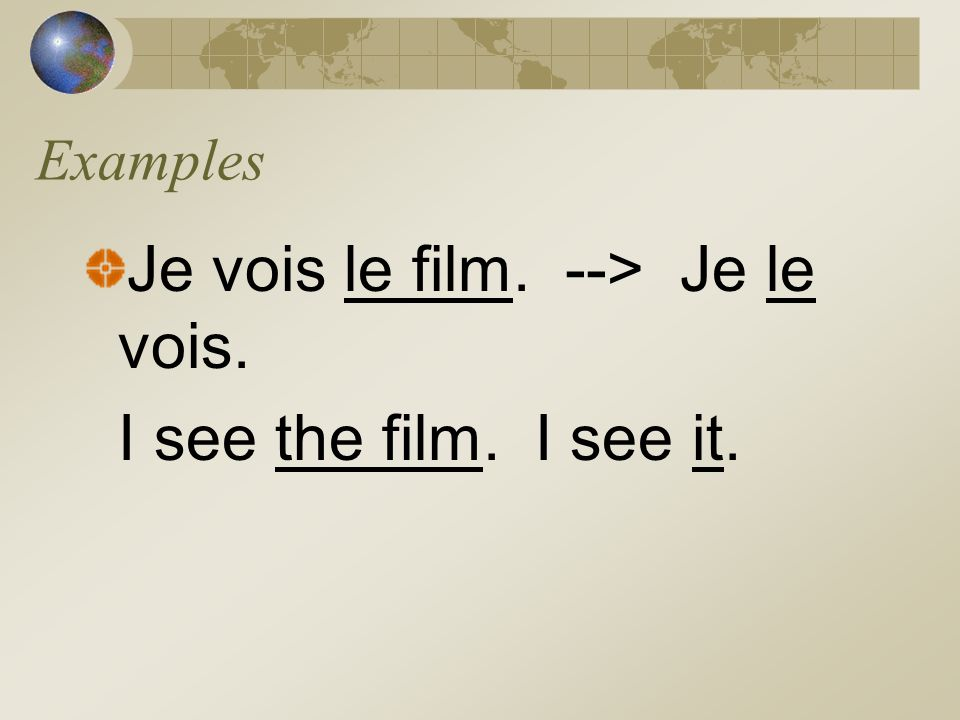 Je vois le film. --> Je le vois. I see the film. I see it.