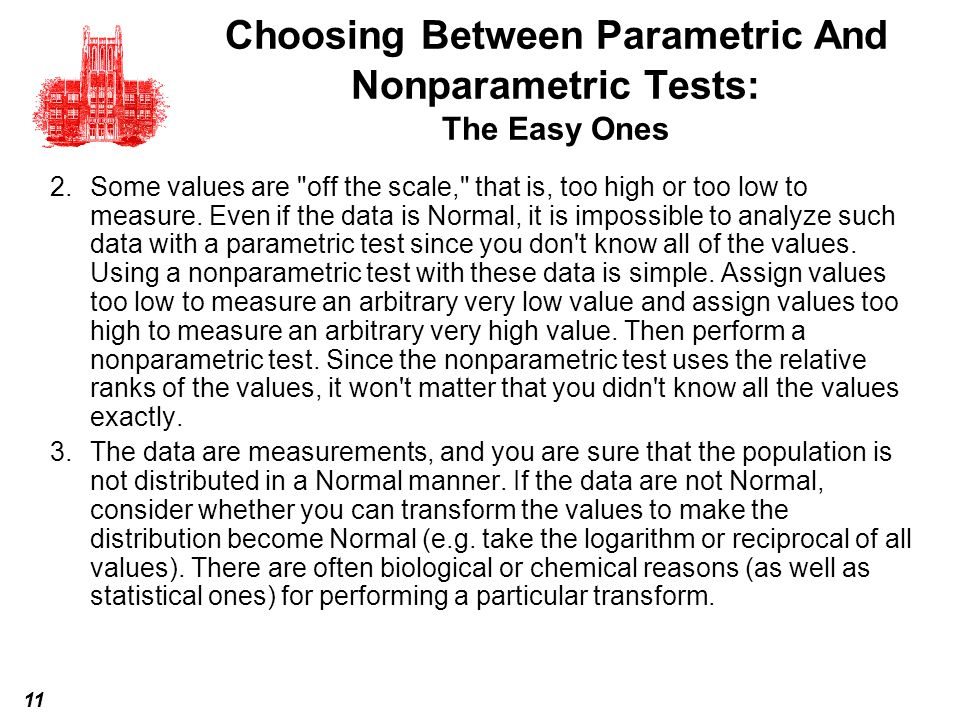 Choosing Between Parametric And Nonparametric Tests: The Easy Ones
