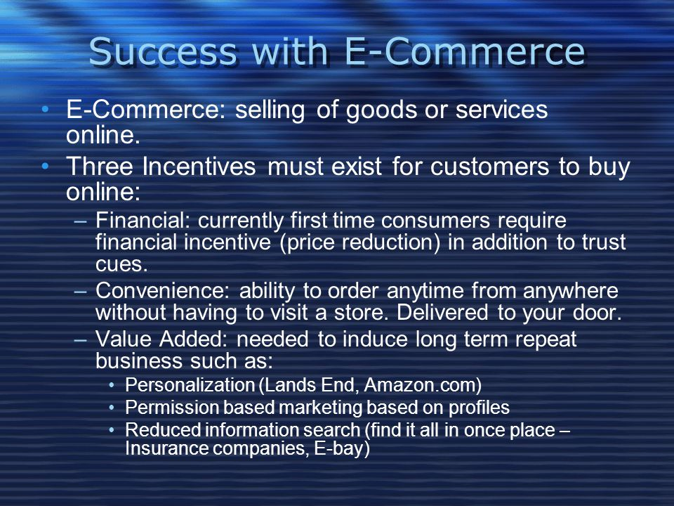 Success with E-Commerce