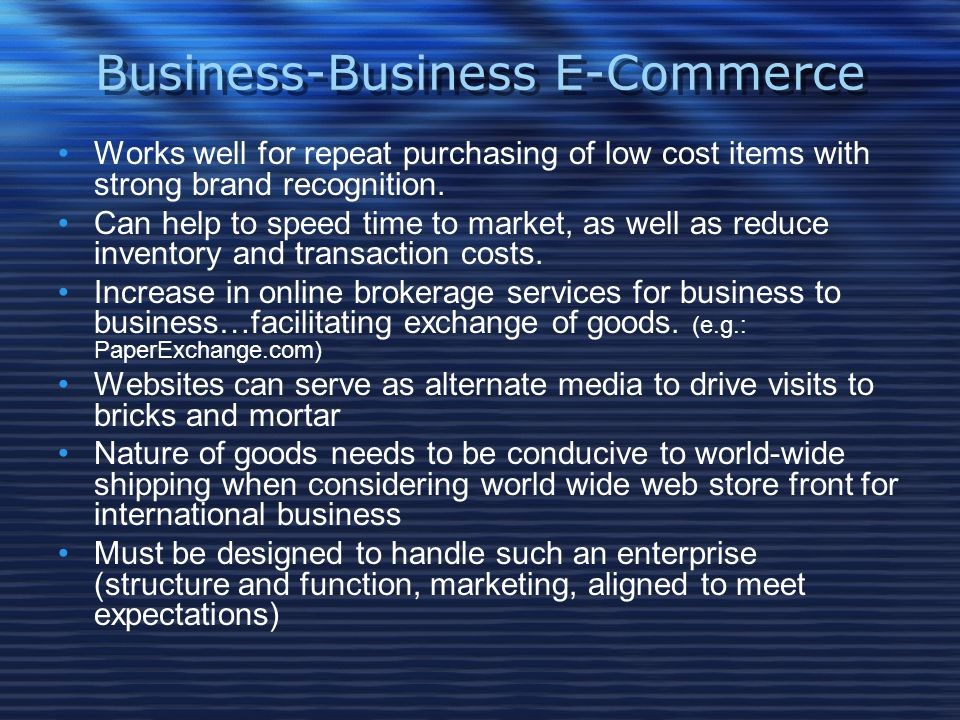 Business-Business E-Commerce