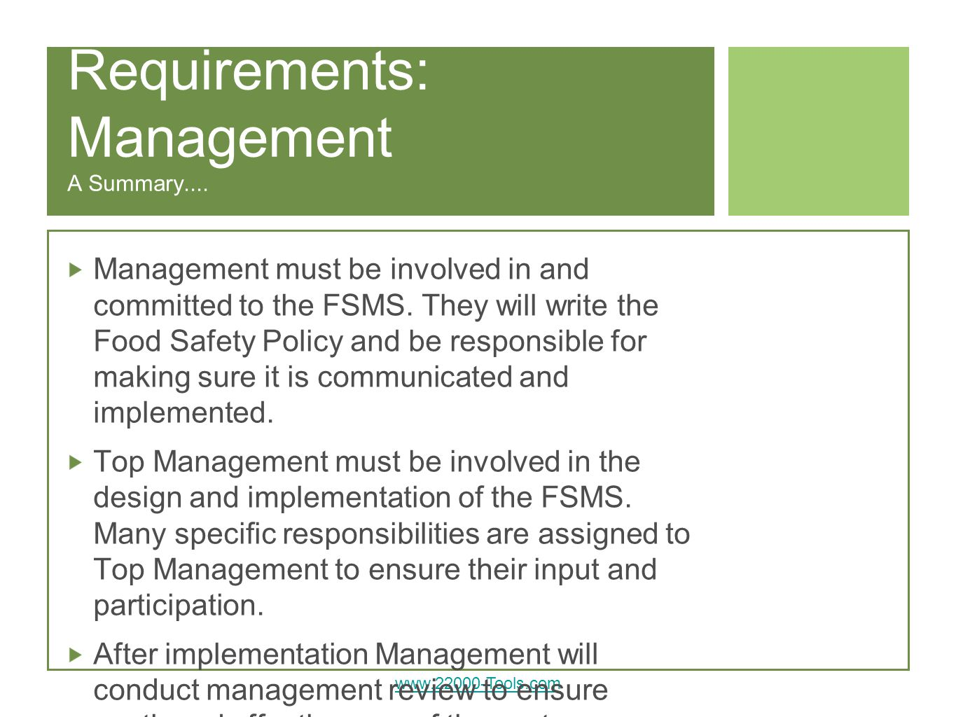 Requirements: Management A Summary....