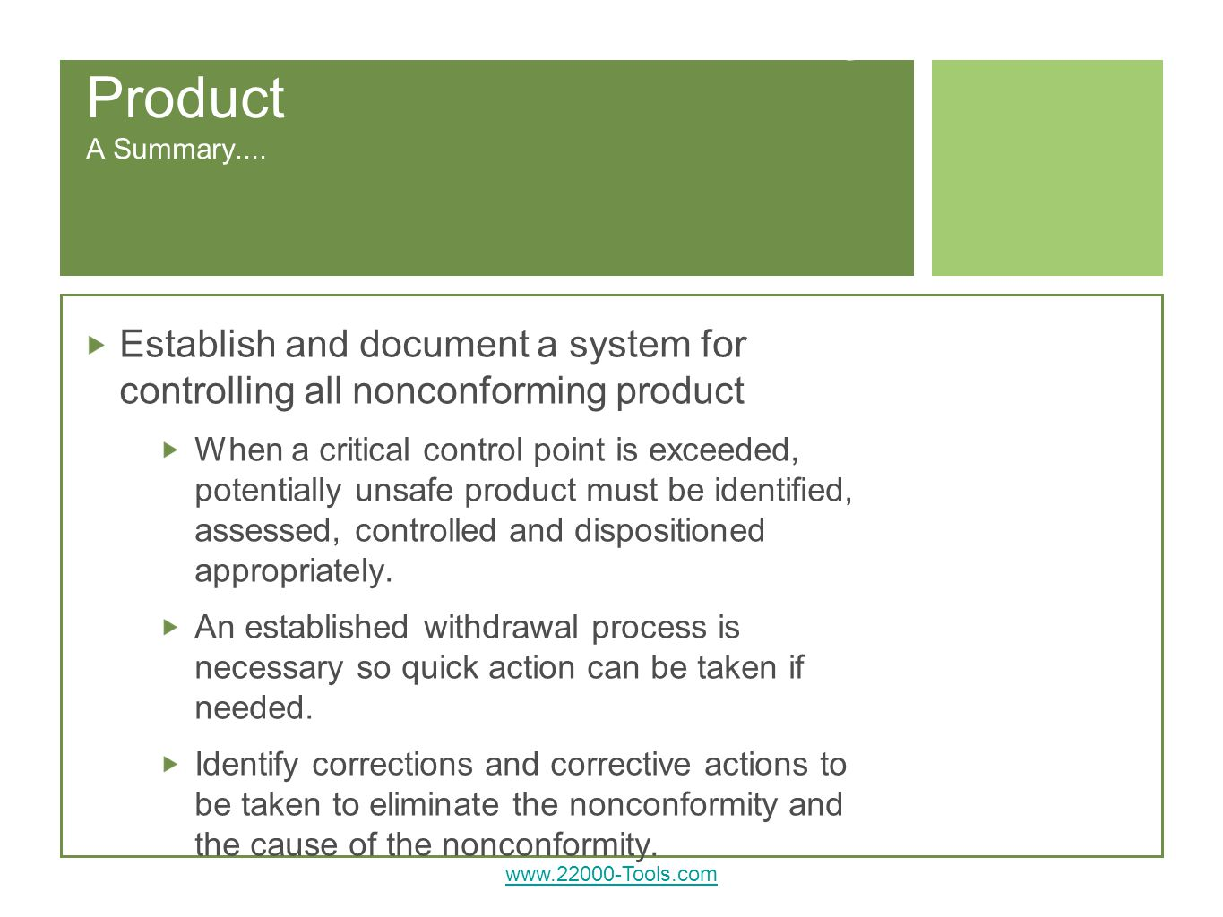 Requirements: Nonconforming Product A Summary....
