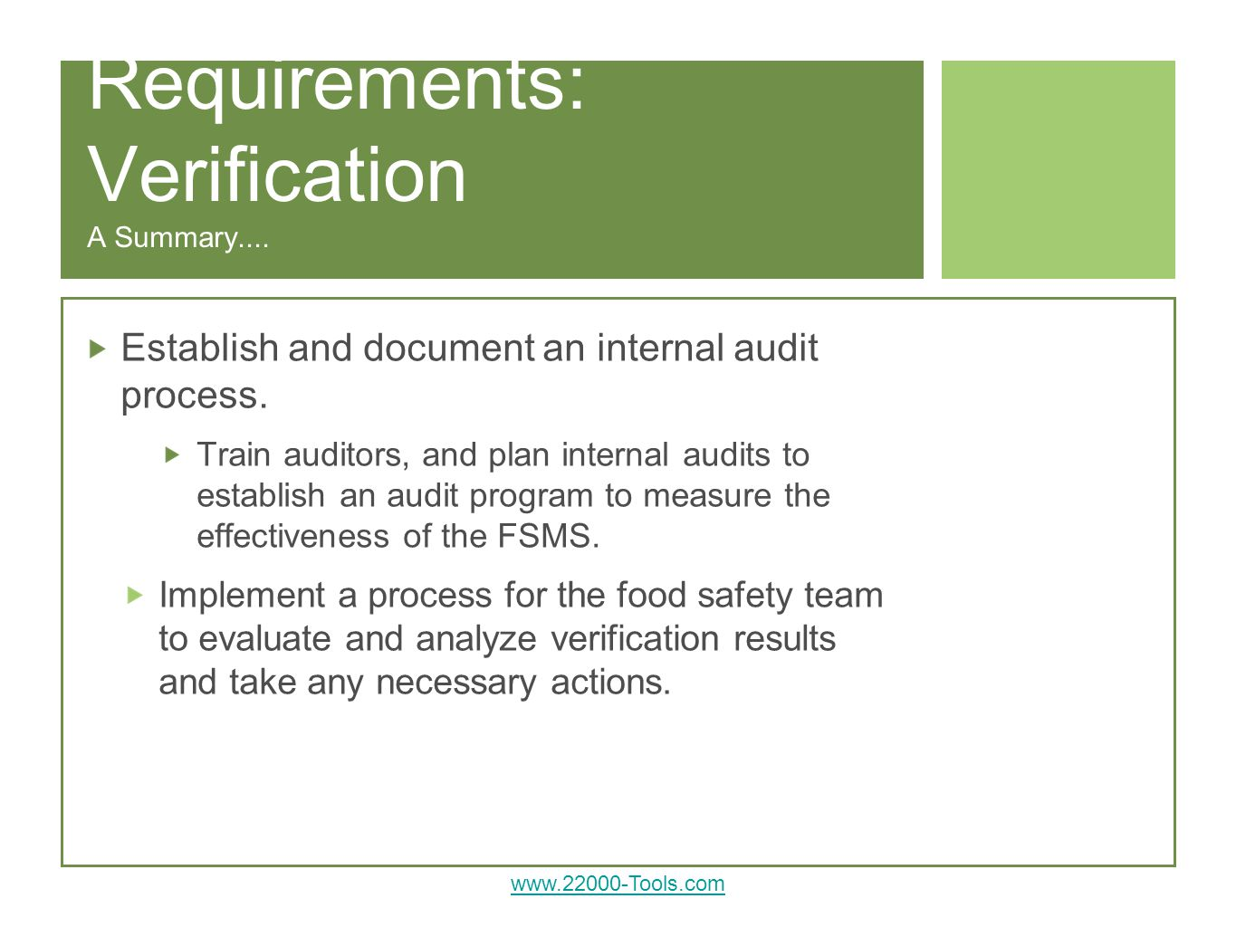 Requirements: Verification A Summary....