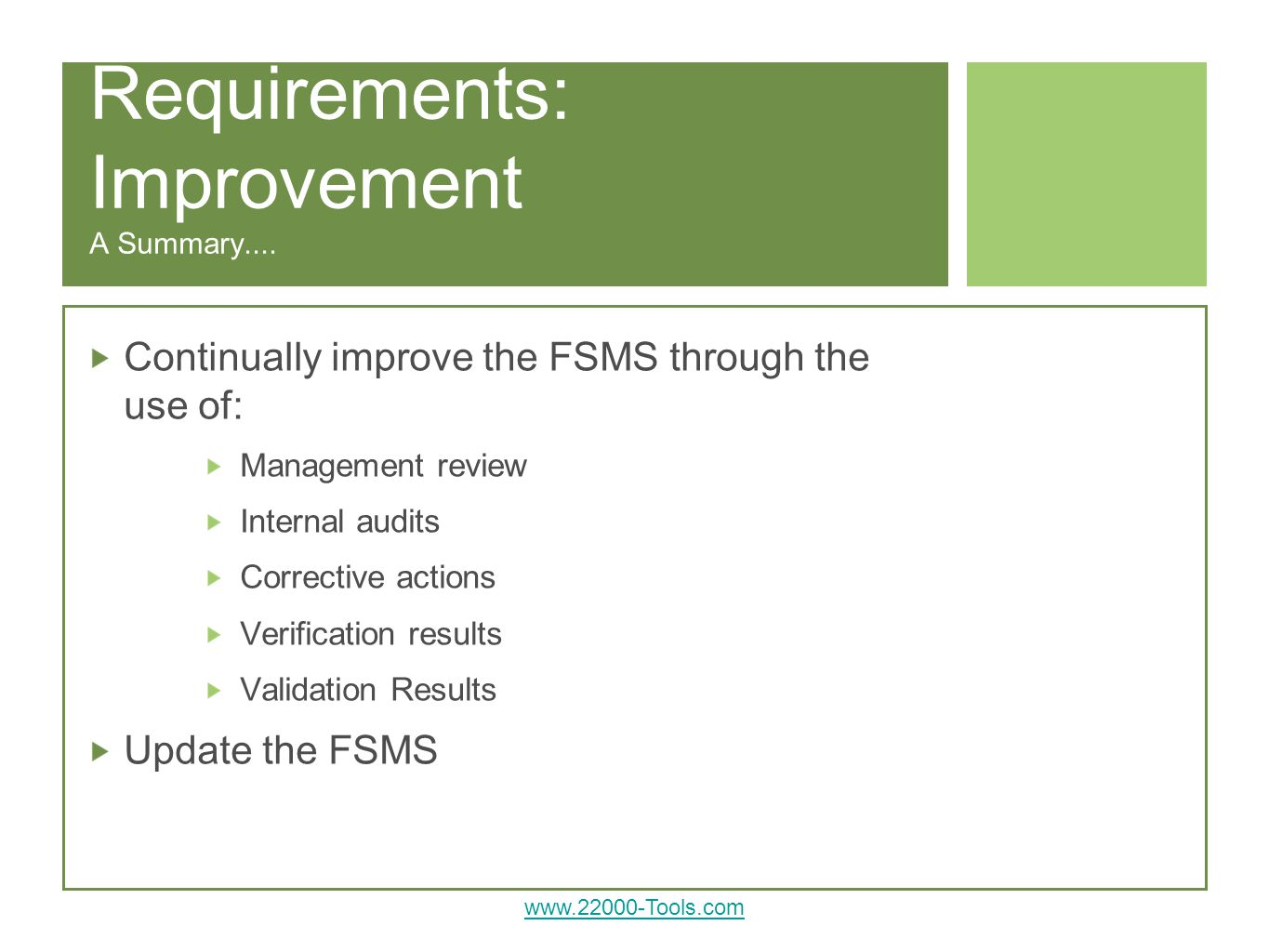 Requirements: Improvement A Summary....