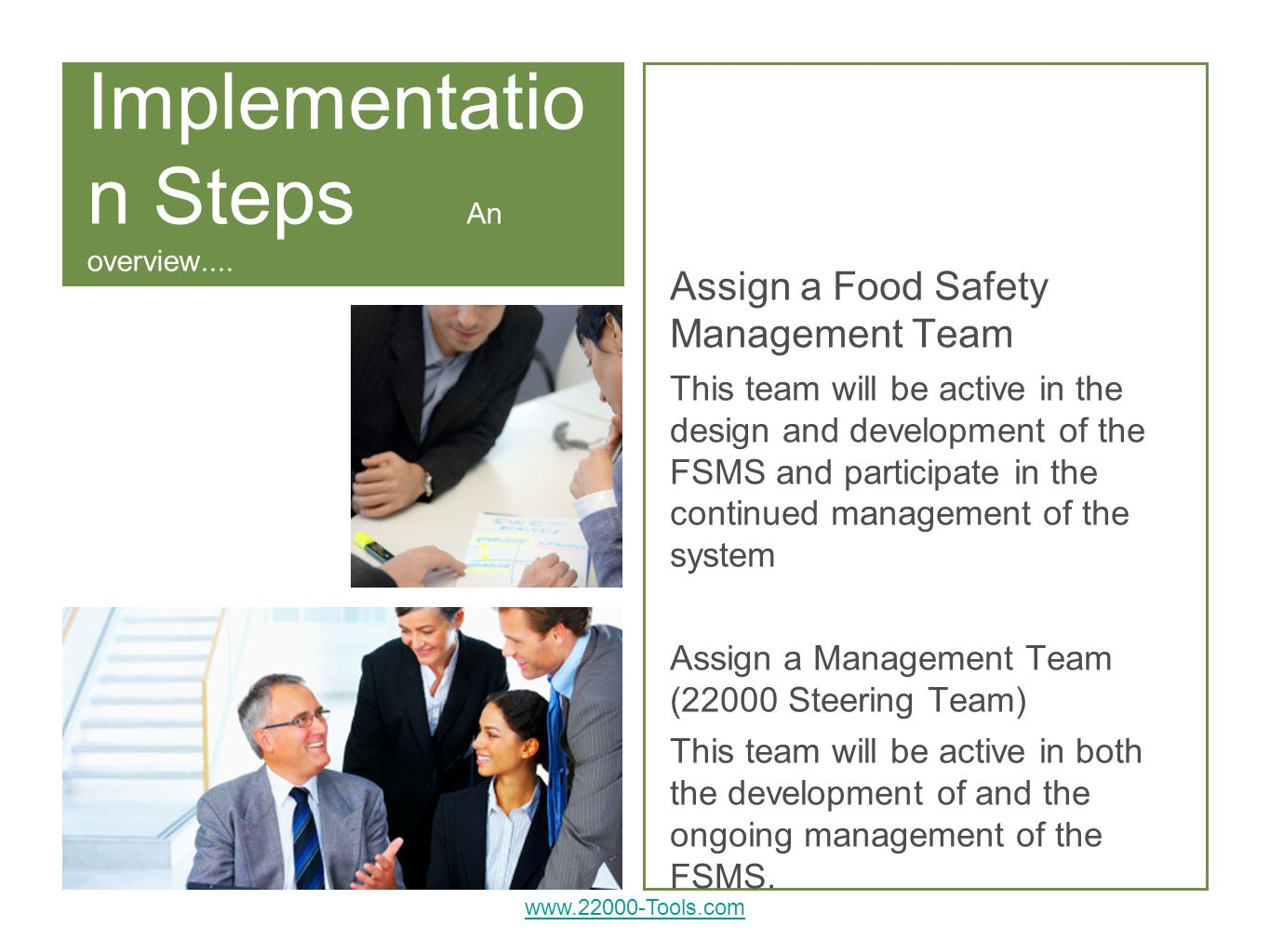 Implementatio n Steps An overview....