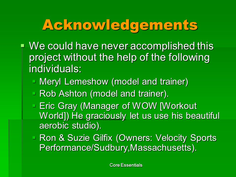Acknowledgements We could have never accomplished this project without the help of the following individuals: