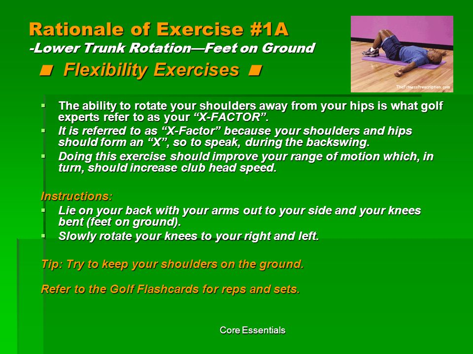 Rationale of Exercise #1A -Lower Trunk Rotation—Feet on Ground < Flexibility Exercises <