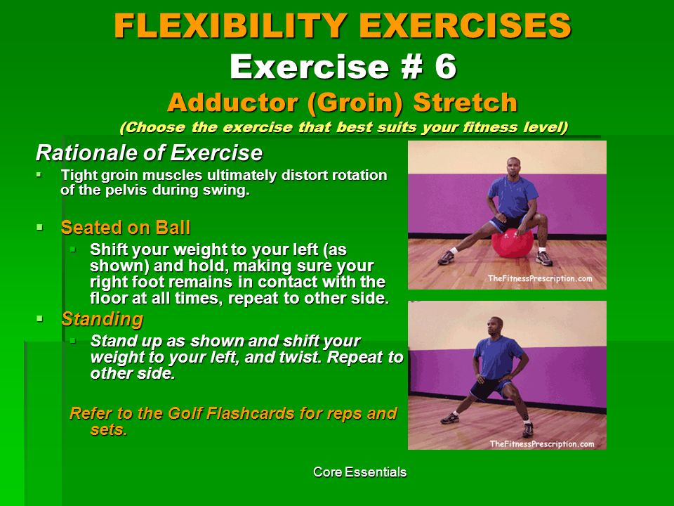 FLEXIBILITY EXERCISES Exercise # 6 Adductor (Groin) Stretch (Choose the exercise that best suits your fitness level)