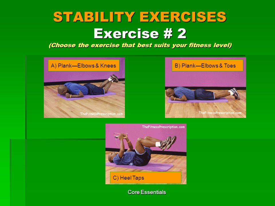STABILITY EXERCISES Exercise # 2 (Choose the exercise that best suits your fitness level)