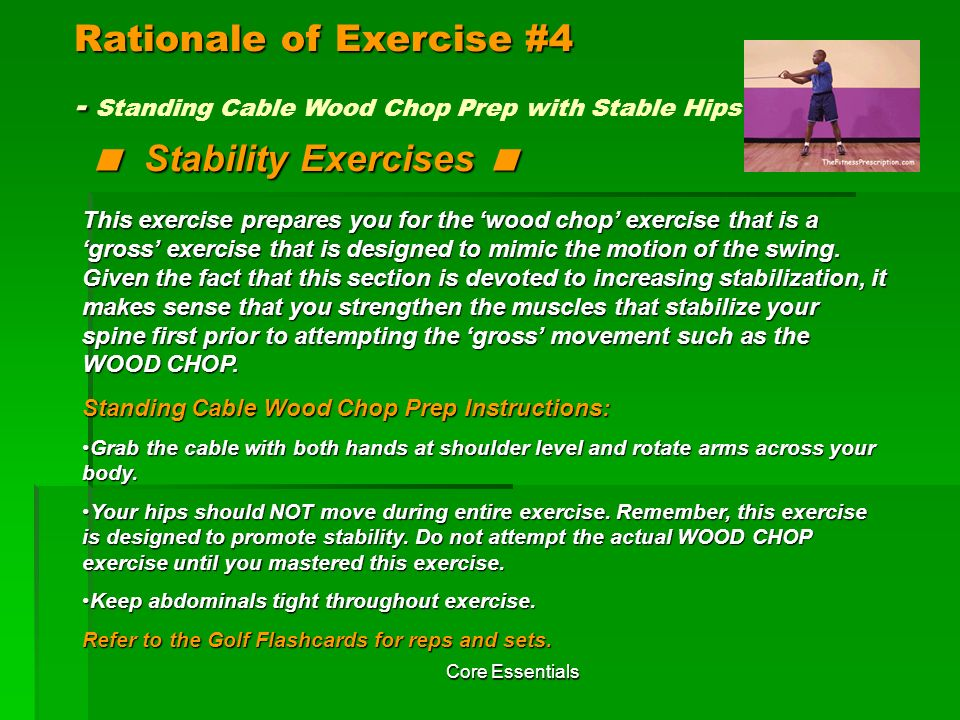 Rationale of Exercise #4 - Standing Cable Wood Chop Prep with Stable Hips < Stability Exercises <