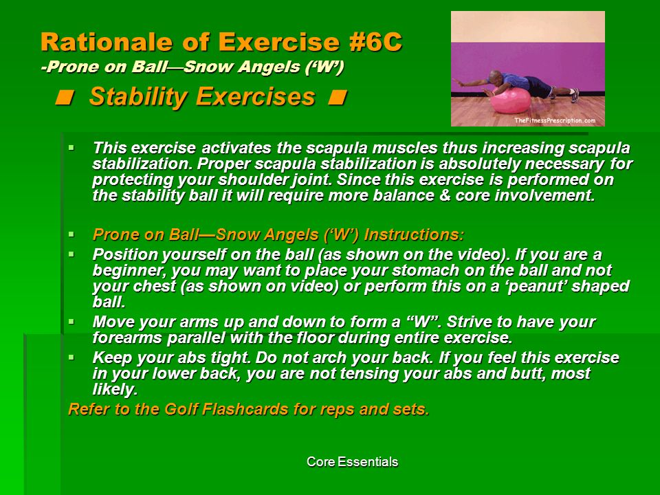 Rationale of Exercise #6C -Prone on Ball—Snow Angels ('W') < Stability Exercises <