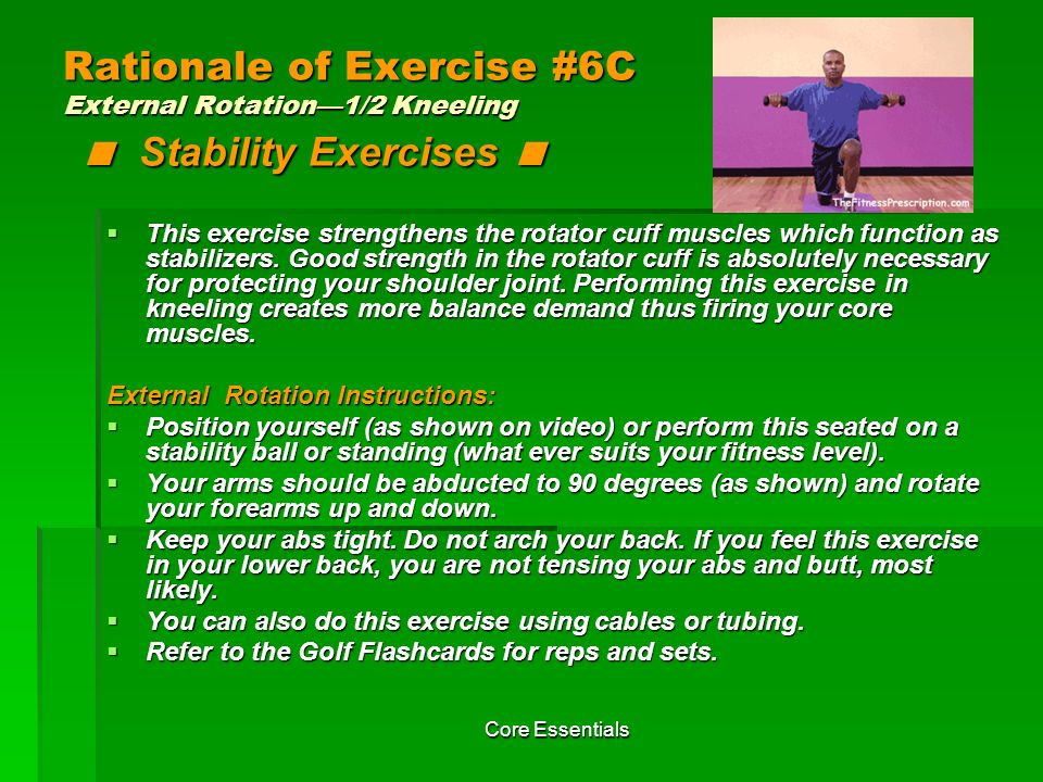 Rationale of Exercise #6C External Rotation—1/2 Kneeling < Stability Exercises <