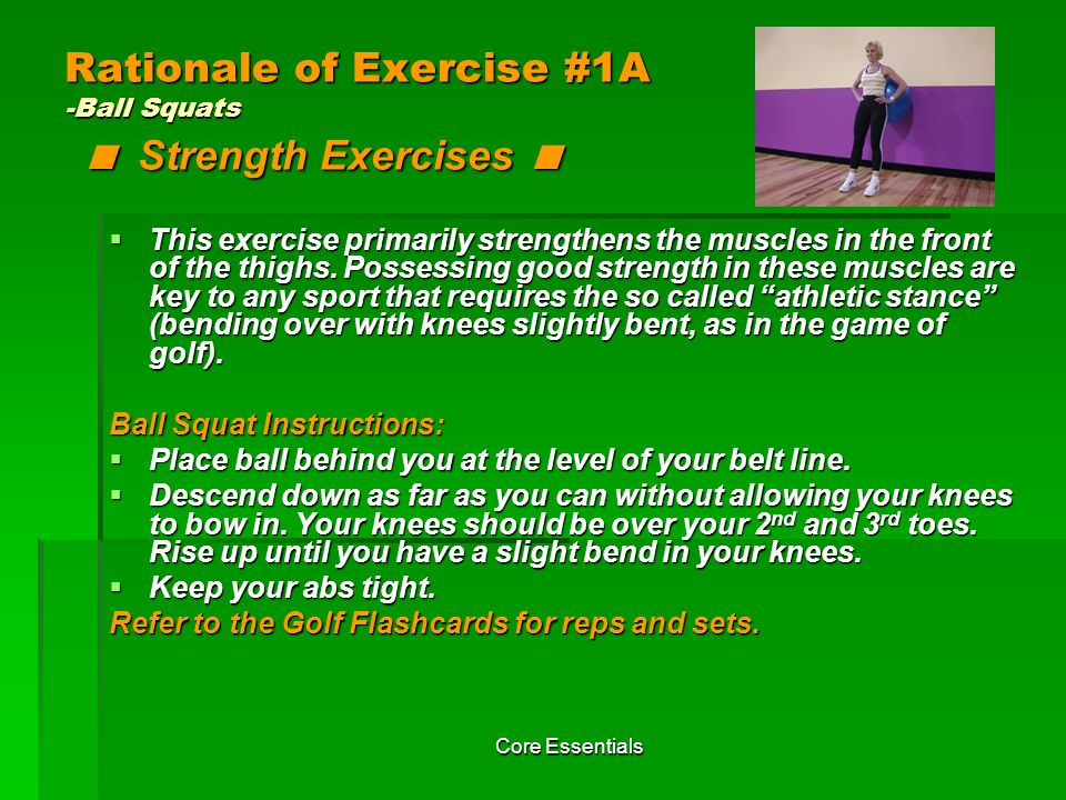 Rationale of Exercise #1A -Ball Squats < Strength Exercises <