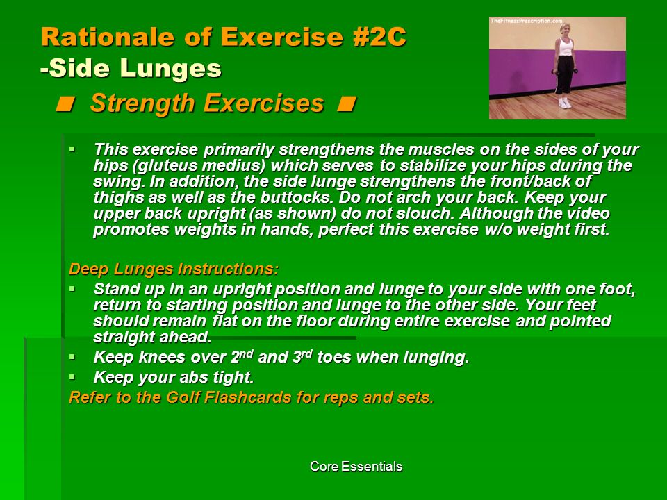 Rationale of Exercise #2C -Side Lunges < Strength Exercises <
