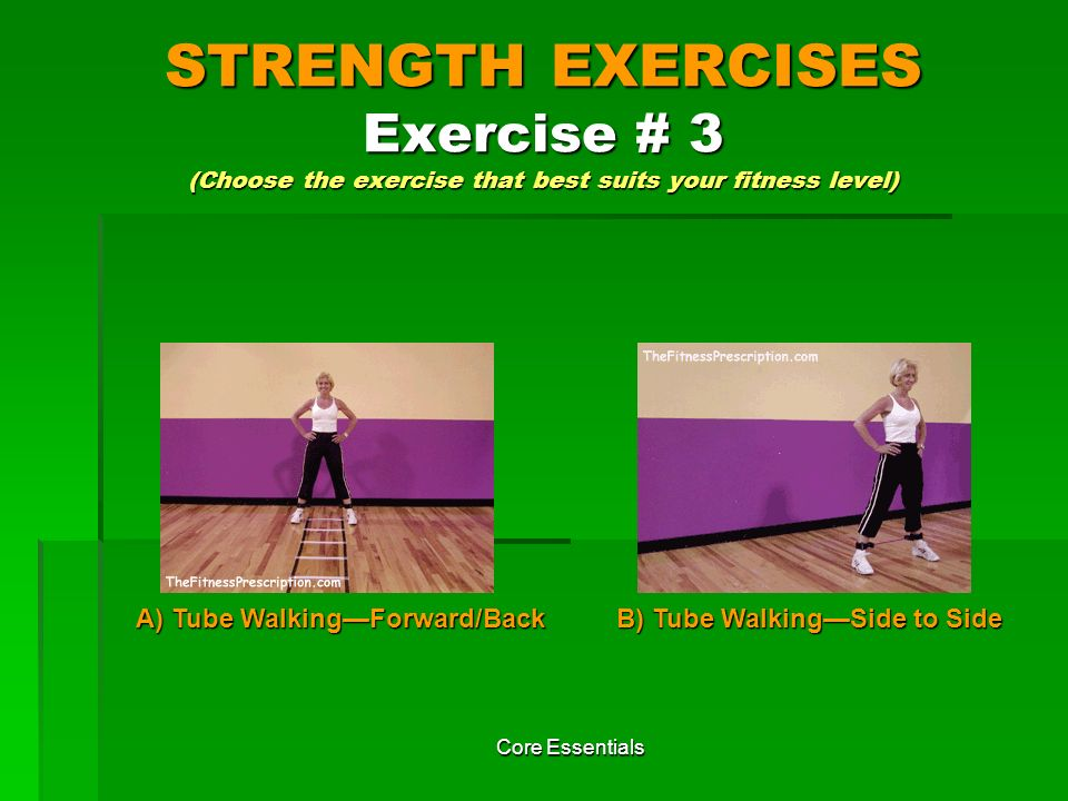 STRENGTH EXERCISES Exercise # 3 (Choose the exercise that best suits your fitness level)