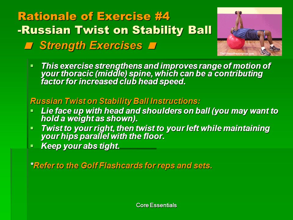 Rationale of Exercise #4 -Russian Twist on Stability Ball < Strength Exercises <