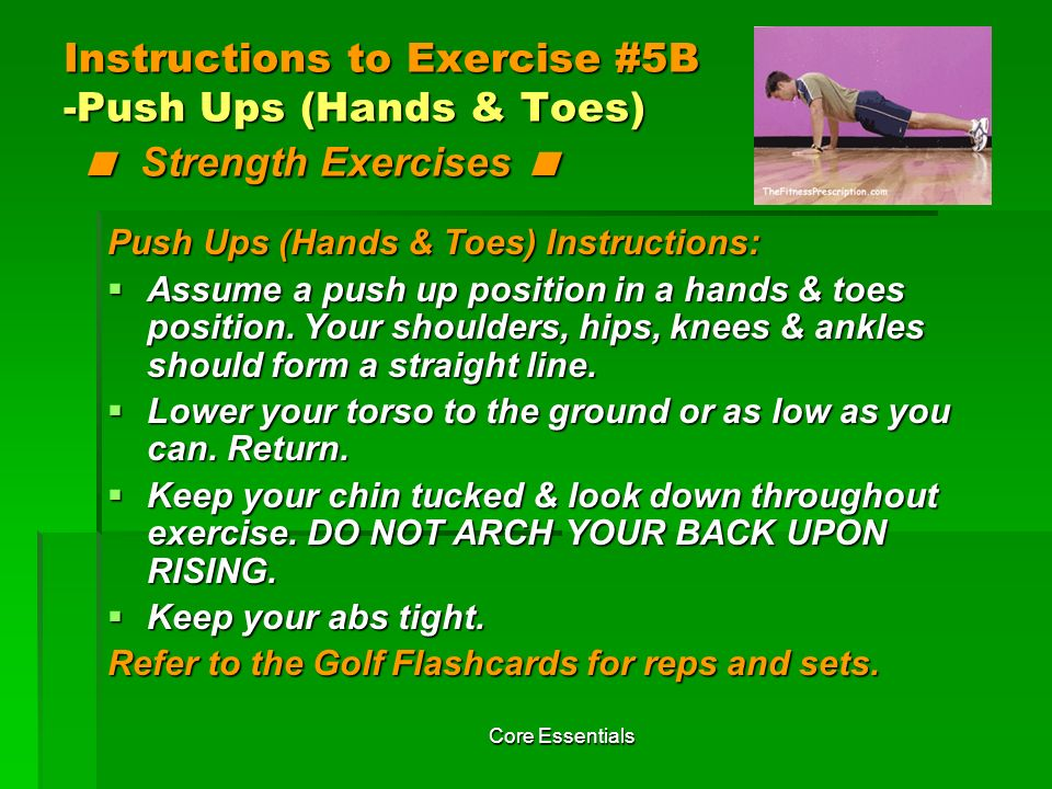 Instructions to Exercise #5B -Push Ups (Hands & Toes) < Strength Exercises <