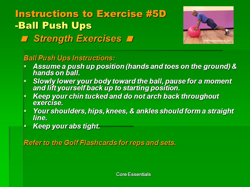 Instructions to Exercise #5D -Ball Push Ups < Strength Exercises <