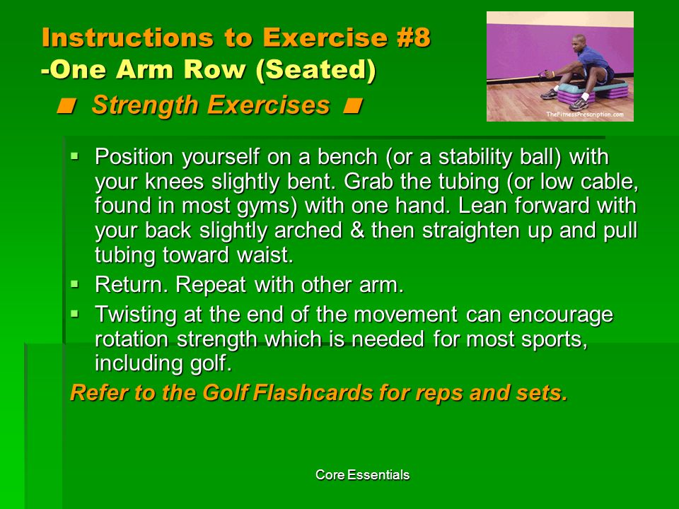 Instructions to Exercise #8 -One Arm Row (Seated) < Strength Exercises <