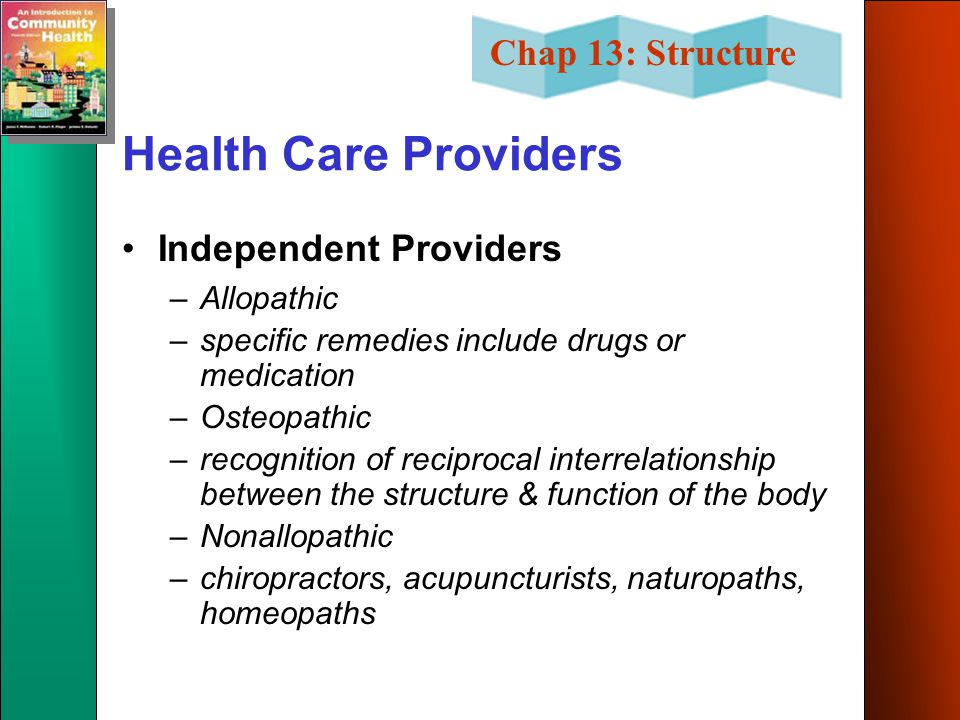 Health Care Providers Independent Providers Allopathic