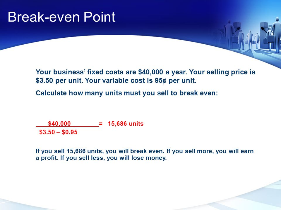Break-even Point Your business' fixed costs are $40,000 a year. Your selling price is $3.50 per unit. Your variable cost is 95¢ per unit.