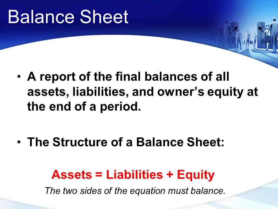 Balance Sheet A report of the final balances of all assets, liabilities, and owner's equity at the end of a period.